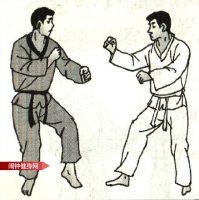 跆拳道《倒勾踢接侧踢肚脐下颌》图解教学