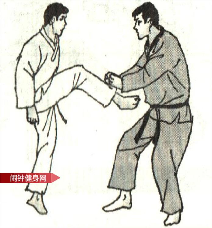 跆拳道《防踢颌踢腹接踢腹反击》图解教学