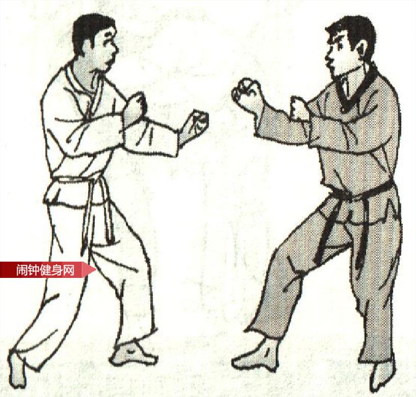 跆拳道《防踢裆击颌接撞膝反击》图解教学