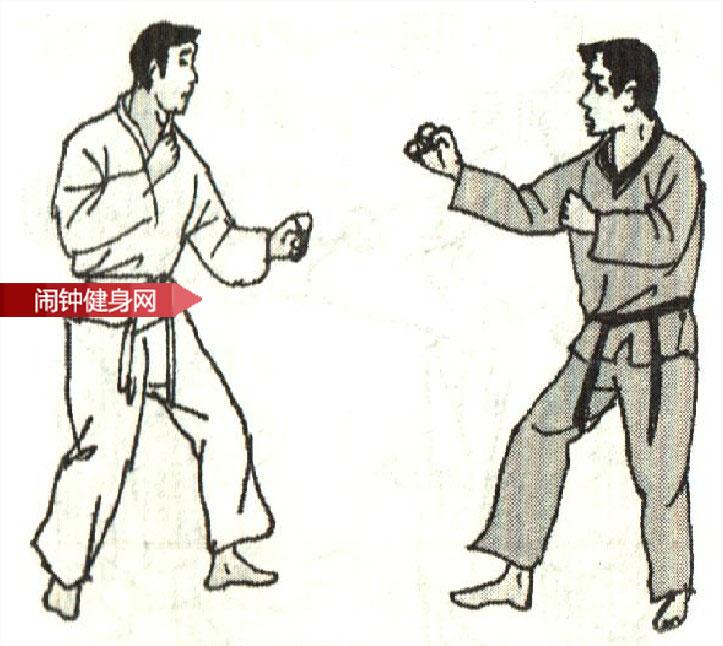 跆拳道《防跳起半月踢接踢腰反击 》图解教学