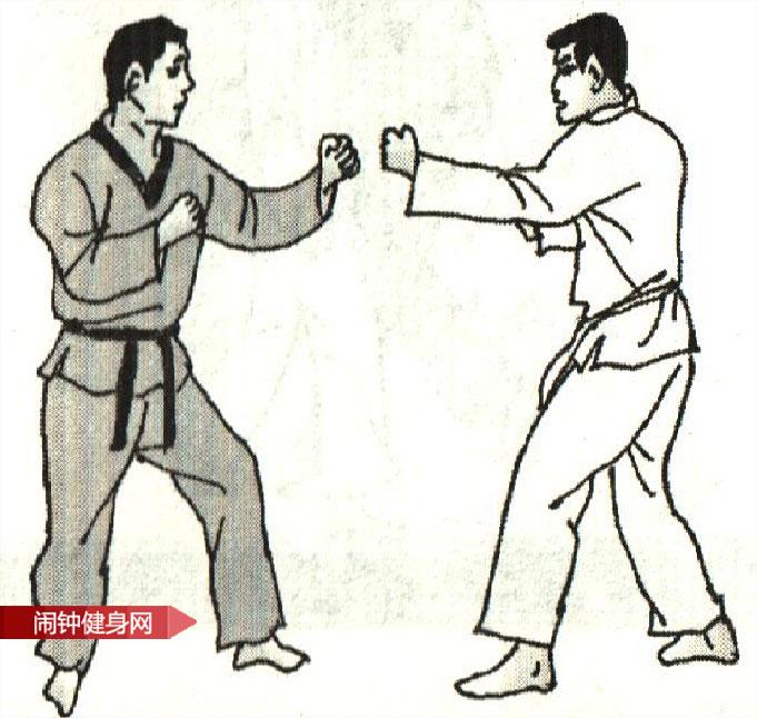 跆拳道《踢裆击人中心窝接肘击颌部》图解教学