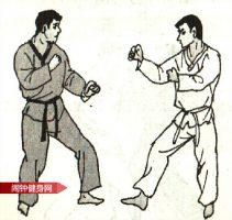 跆拳道《踢肚脐接跳转体踢颌部》图解教学