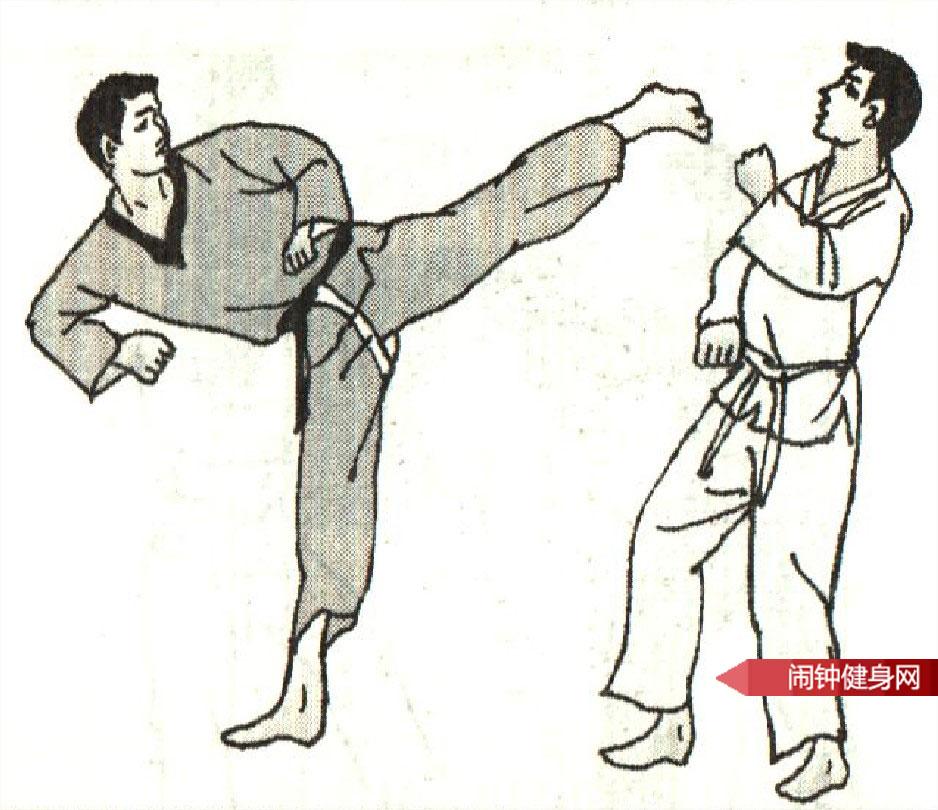 跆拳道《踢时反勾踢脖接侧踢心窝》图解教学www.nzjsw.com