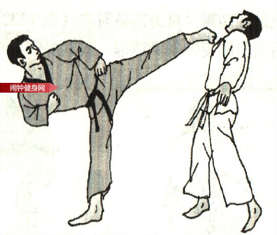 跆拳道《倒勾踢接侧踢肚脐下颌》图解教学www.nzjsw8.com