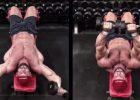 胸大肌柔韧扩张动作—下斜凳上拉