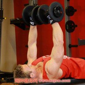 平板哑铃卧推(推举) 胸肌训练动作4a nzjsw.com